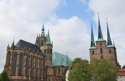 Kathedraal en Kerk van Heilige Severus in Erfurt stock foto