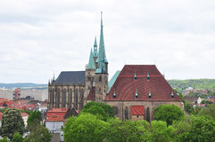 Kathedraal en Kerk van Heilige Severus in Erfurt stock afbeelding