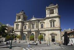 Kathedraal in La Paz, Plaza DE La Union, Bolivië Stock Foto's