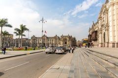 Kathedraal in Lima, Peru. Oude kerk in Zuid-Amerika, dat in 1540 wordt gebouwd. Het Plein DE Armas van Arequipa is één van mooist  Stock Fotografie