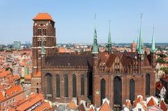 Kathedraal in oude stad van Gdansk, Polen Stock Afbeelding