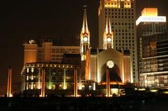 Kathedraal in 's nachts Ningbo Royalty-vrije Stock Fotografie
