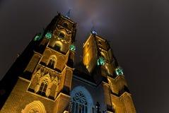 Kathedraal in 's nachts WrocÅaw Stock Afbeelding