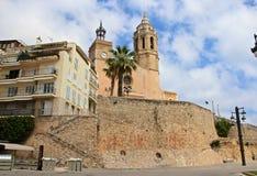 Kathedraal in Sitges, Spanje Royalty-vrije Stock Afbeeldingen