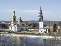 Kathedraal spaso-Preobrazhensky in de stad en de leunende toren van Nevyansk royalty-vrije stock afbeelding