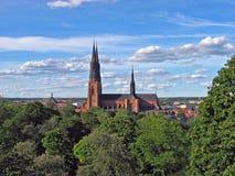 Kathedraal in Uppsala, Zweden Stock Fotografie