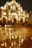Kathedraal van Antigua, 's nachts Guatemala Royalty-vrije Stock Foto's