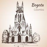 Kathedraal van Bogota schets vector illustratie