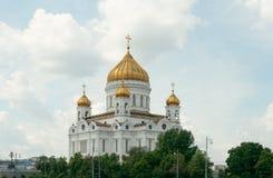 Kathedraal van Christus de Verlosser, mening van de rivier van Moskou (Moskou, Stock Fotografie