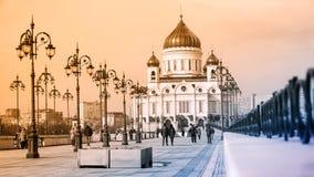 Kathedraal van Christus de Verlosser in Moskou, Rusland Royalty-vrije Stock Foto