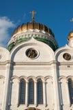 Kathedraal van Christus de Verlosser op de zonsondergang, Moskou, Rusland Stock Foto