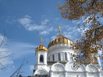 Kathedraal van Christus onze Verlosser in Moskou, van straatmening Stock Afbeeldingen