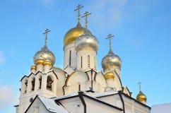 Kathedraal van de Geboorte van Christus van heilige maagdelijke Mary in Zachatievsky-klooster in Moskou stock foto's