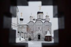 Kathedraal van de Presentatie van Heilig Virgin in de Tempel in Vladychny-de Kathedraal van Kloostervvedensky Stock Foto's