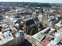 Kathedraal van de Veronderstelling van Maagdelijke Mary in Lviv stock afbeelding