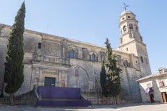 Kathedraal van de Veronderstelling van Virgin van Baeza, Jaen, Spanje stock afbeeldingen