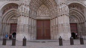 Kathedraal van de voorbuitenkant van Rouen, Normandië Frankrijk stock footage