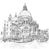 Kathedraal van dellaBegroeting van Santa Maria Venetië Italië vector illustratie