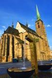 Kathedraal van Heilige Bartholomew, oude architectuur, Pilsen, Tsjechische Republiek royalty-vrije stock foto