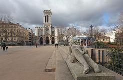 Kathedraal van Heilige Charles Borromeo in Saint-Etienne, Frankrijk Stock Foto