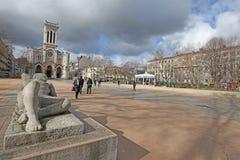 Kathedraal van Heilige Charles Borromeo in Saint-Etienne, Frankrijk Stock Foto's