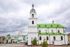 Kathedraal van heilige geest in Minsk - Kerk van Wit-Rusland en Symbool van Kapitaal Beroemd Oriëntatiepunt stock foto