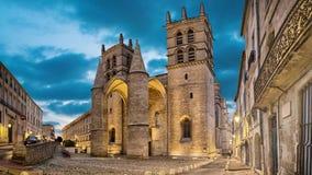 Kathedraal van Heilige Peter bij schemer in Montpellier, Frankrijk stock footage