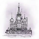 Kathedraal van het Basilicum van Heilige, Moskou, Rusland vector illustratie