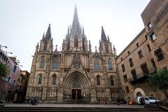 Kathedraal van het Heilige Kruis en de Heilige Eulalia in Barcelona Stock Foto