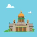 Kathedraal van het ontwerpisaac van heilige Petersburg de vlakke met wolken stock illustratie