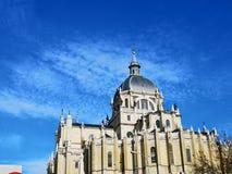Kathedraal van La Real DE La Almudena, Madrid, Spanje van Kerstmanmarãa stock afbeelding