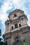 Kathedraal van Malaga, Spanje De oude gezichten van steenmuren stock fotografie