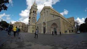 Kathedraal van Messina timelapse - duomo stock videobeelden
