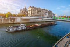 Kathedraal van Notre Dame de Paris bij de herfstmiddag Dijk van de Zegen Aak dragende een ladingstoeristen en inwoners een gang stock foto's