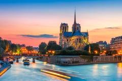 Kathedraal van Notre Dame de Paris bij zonsondergang, Frankrijk Stock Foto's