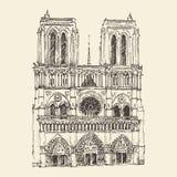 Kathedraal van Notre Dame de Paris, Frankrijk, wijnoogst gegraveerde illustratie Stock Fotografie