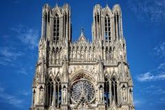 Kathedraal van Notre-Dame, Reims, Frankrijk stock foto's