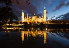Kathedraal van Onze Dame van de Pijler in avond Royalty-vrije Stock Foto's