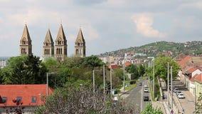 Kathedraal van Pecs Hongarije stock video