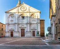 Kathedraal van Pienza, Toscanië stock foto