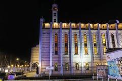 Kathedraal van Saint Joseph in Sofia, 's nachts Bulgarije Stock Fotografie