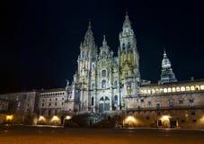 Kathedraal van Santiago bij nacht Stock Afbeeldingen