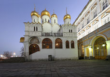 Kathedraal van sobor van Aankondigingsblagoveschensky bij nacht Kathedraalvierkant, binnen van Moskou het Kremlin, Rusland Stock Afbeelding