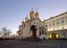 Kathedraal van sobor van Aankondigingsblagoveschensky bij nacht Kathedraalvierkant, binnen van Moskou het Kremlin, Rusland Royalty-vrije Stock Foto
