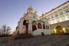 Kathedraal van sobor van Aankondigingsblagoveschensky bij nacht Kathedraalvierkant, binnen van Moskou het Kremlin, Rusland Royalty-vrije Stock Foto's