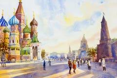 Kathedraal van St Basilicum in het Rode Vierkant in Moskou stock illustratie