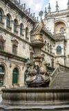 Kathedraal van St Jacob, fontein Los Caballos stock fotografie
