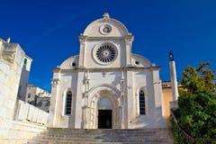 Kathedraal van St James in Sibenik-voorgevel Royalty-vrije Stock Afbeeldingen