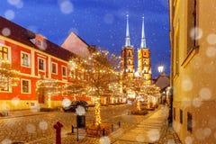 Kathedraal van St John bij nacht in Wroclaw, Polen Royalty-vrije Stock Afbeeldingen