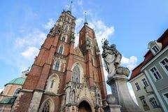 Kathedraal van St John Doopsgezind in WrocÅ 'aw, Polen Royalty-vrije Stock Afbeeldingen
